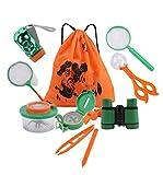 12 Paquete exterior Explorador Kit, niños Aventurero Set Equipo de exploración con los prismáticos, linterna, brújula, Lupa, Colector del insecto, Bug Catcher for la caza y la observación de aves