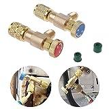 Válvula Seguridad 2 Piezas Fácil operar Sin Fugas Conector Adaptadores rotación Refrigerante llenado automóviles Control acoplador rápido Reemplazo Aire Acondicionado Sellado