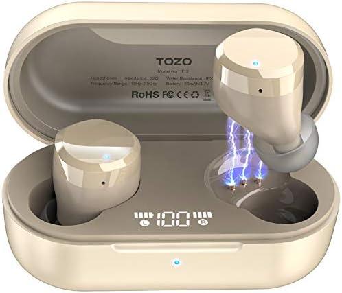 TOZO T12 Wireless Earbuds Bluetooth Headphones Premium Fidelity Sound Quality Wireless Charging Case Digital LED Intelligence Display IPX8 Waterproof Earphones Built-in Mic Headset for Sport Black