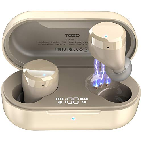 TOZO T12 Wireless Earbuds Bluetooth Headphones Premium Fidelity Sound Quality Wireless Charging Case Digital LED Intelligence Display IPX8 Waterproof Earphones Built-in Mic Headset for Sport Champagne