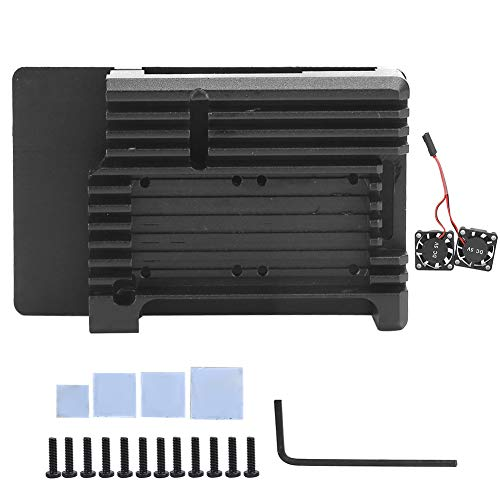 SOONHUA Metallgehäuse Schutzhülle für Raspberry Pi 3 B RPI 3 B B B + Dual Cooling Fan Wärmeableitung