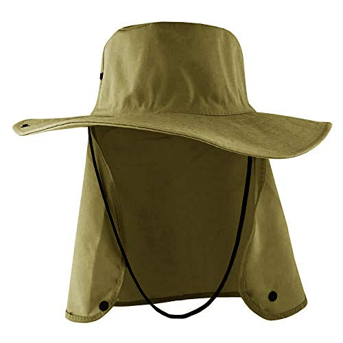 Chapéu Australiano Pescador Unisex Com Capuz Proteção Solar De Nuca (cáqui, Único)