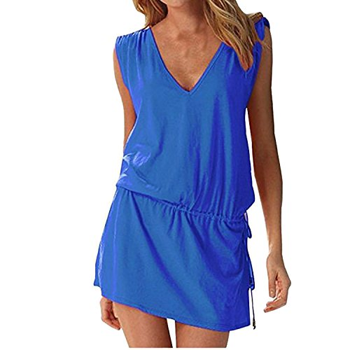 Hount Womens Swimwear Bikini Cover-ups Beach Dress (Royal Blue, X-Large)