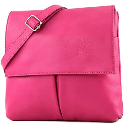 modamoda de - T63 - ital Umhänge-/Schultertasche Nappaleder, Farbe:Pink