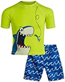 Wippette Boys Swimwear - Rash Guard UPF 50+ and Swimsuit Trunk 2-Piece Set (Sharks/Crabs/Dinosaurs) (Infant/Toddlers), Electric Blue/Shark, Size Toddler (2T)