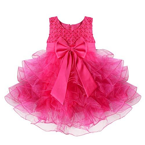 Freebily Baby Mädchen Kleid festlich Kleinkind Prinzessin Kleid Hochzeit Blumenmädchen Kleider Partykleid Kommunionskleid Taufkleider Rose 92