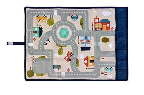 ACHOKA Travel & Play - Tapis de Jeux Nomade Pliable- Design Route- Bébés et Enfants– Filles et Garçons- Polyester- 67x47 cm - Jeux de Voyage, Jeux Ludique - voiture