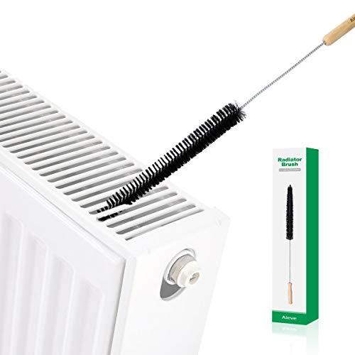 AIEVE Cepillo del radiador, mango largo y cepillo del radiador flexible para limpiar el radiador, negro