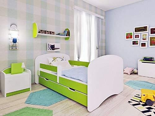 Lit pour enfant 140 x 70 cm avec matelas et tiroir Limone- Happy I citron vert