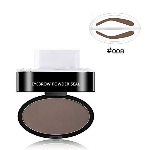 Hilai 1pc Poudre pour sourcils waterproof avec tampon sourcils parfaits poudre pour sourcils naturelle forme délicate(008)