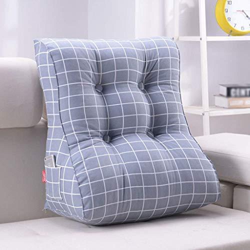 LFOZ Cojín triangular para sofá, respaldo de cama, silla de oficina, soporte de cintura, cojín de lectura y decoración lumbar para el hogar (color: A, tamaño: 55 x 30 x 60 cm)