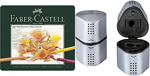 Faber-Castell - Matite colorate Polychromos in scatola di metallo da 24 pezzi e temperamatite Grip Trio argento