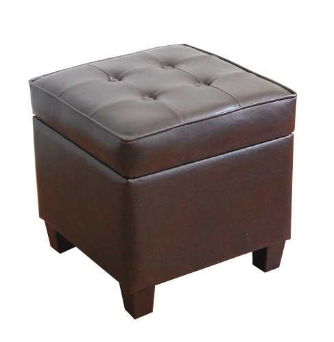 HomePop Leatherette Tufted Square Storage Ottoman with Hinged...