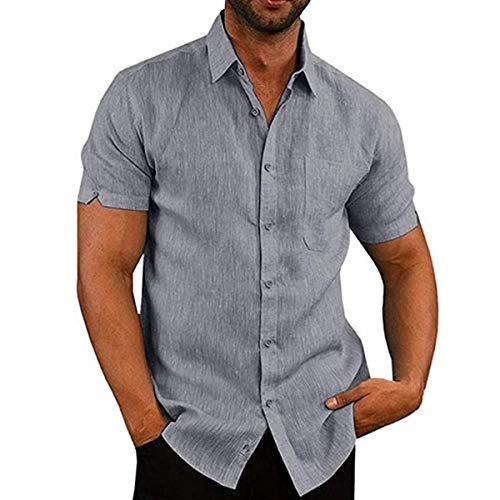 Camisa de Manga Corta para Hombre Camisas Informales de Verano Camisa Suelta de Ocio de Color Sólido con Botónes Top Blusa de Corte Recto con Bolsillo (Gris, XXXL)