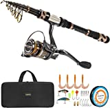 PLUSINNO Fishing Rod and Reel Combos -24 Ton Carbon Fiber Telescopic Fishing Pole - Spinning Reel 12...