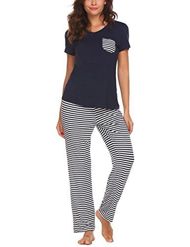 Hotouch Womens Pajamas Pants Sets Short Sleeve Comfy Soft Sleepwear Pj Sets 2 Piece Loungewear