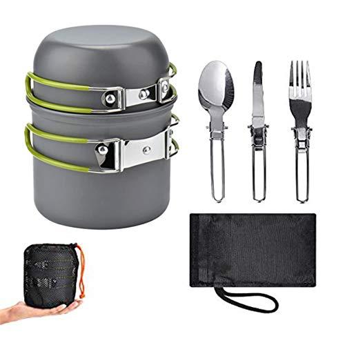 WISMURHI Plegable Utensilios Cocina Camping con, cuchara/tenedor/cuchillo plegable de acero inoxidable para 1 – 2 personas – Cacerolas...
