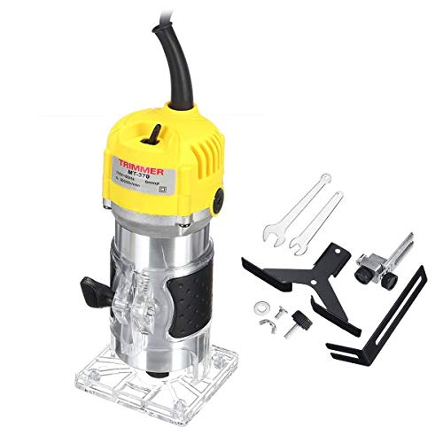 Best Bargain QLJJSD 6.35mm 30000RPM Electric Hand Trimmer Wood Laminate Palms Router Joiners Kit Woo...