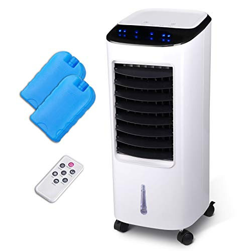 Wealthgirl Evaporative Cooler,Portable Air Cooler Humidifier with Remote Control Ice Pack Energy Saving Indoor Outdoor 65W