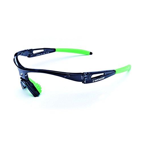 Wenger X-Kross Sports, TR90 Sicherheitskunststoff,, Grundrahmen schwarz transparent, Pads grün oder schwarz