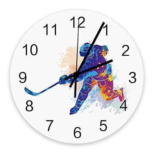 Decoración del hogar Reloj redondo de madera de 10 pulgadas, Hockey deportivo Acuarela Hombre Silencioso sin tictac Número árabe, Reloj que funciona con pilas Decoración de pared para sala de estar, c