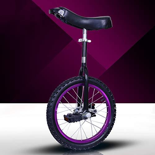 GAOYUY Einrad, Unisex\'s Professionelles Freestyle-Einrad 16/18/20/24 Zoll Starker Manganstahlrahmen for Kinder Und Erwachsene (Color : Puprple, Size : 16 inches)