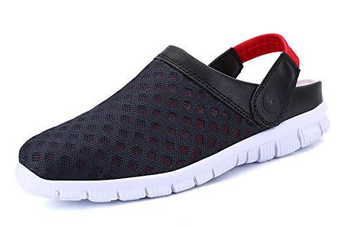 SMajong Mujer Hombre Zuecos Zapatillas de Playa Respirable Sandalias Malla Zapatos Verano Ligeros Antideslizante Clogs Zapatos de Jardin Rojo Azul 37 EU