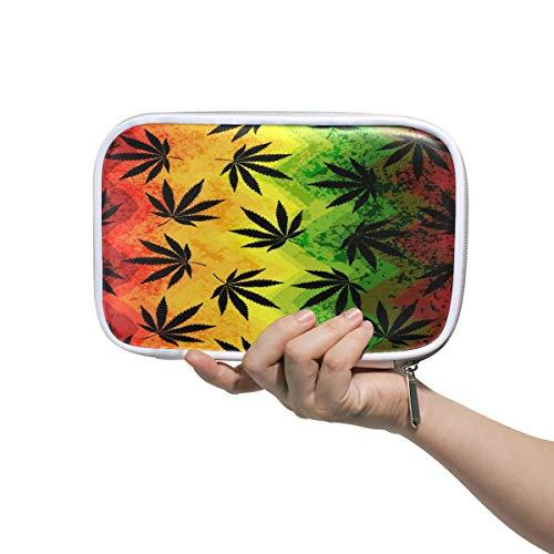 RXYY Estuche para lápices con diseño de hojas de marihuana geométrico, soporte para lápices con cremallera, bolsa de viaje organizadora, cepillo cosmético, para niñas y niños