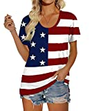 Fourth of July Shirts Women Short Sleeve Tops American Flag S