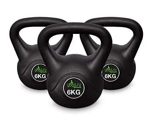 Yog&Fit, Kettlebell o Kettlebell con rivestimento in vinile, 6 kg, con manico antiscivolo