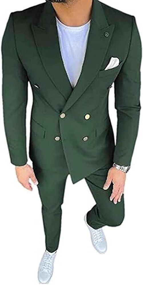 Men's Peak Lapel Double Breasted 2 Pieces Slim Fit Suit Business Suit Wedding Suits
