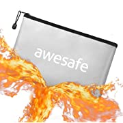 """Fireproof Money Bag for Cash - 10.2""""x7.1"""" Small Fireproof Cash Bag Fire Resistant Pouch and Waterproof Envelope Containers with Zipper for Documents Money Wallet Keys (Sliver)"""
