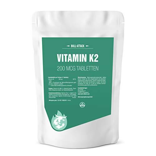 VITAMINA K2 (MK-7) 250 tabletas vegetarianas de 200µg para 4 meses - menaquinona natural para la coagulación de la sangre y el nivel de calcio - soporte para los huesos - Hecho en Alemania