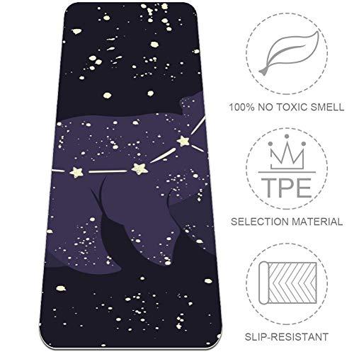 DJROWW Yogamatte, kleiner Bär, Sternbild in der Nacht, Sternenhimmel, natürliche Pilates-Trainingsmatte, umweltfreundlich, Stärke 0,6 cm