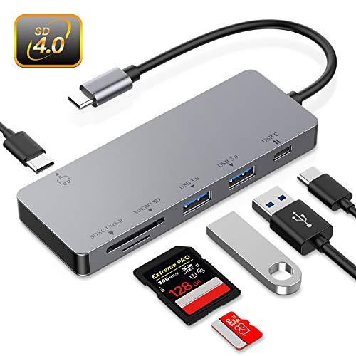 Hub USB c Lector de Tarjetas de Memoria UHS-II,Hotott SD 4.0/TF 2 USB 3.0, PD Carga Rápida Compatible con para Macbook Pro, Google Chromme, Hua Wei Matebook, Galaxy S10, etc.
