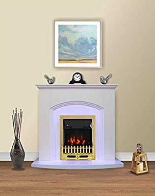 Modern White Electric Fire Surround Complete Fireplace Package Suite