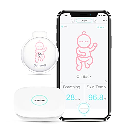 Sense-U Smart Baby Monitor 2 with Breathing Movement Temperature Sensors: Tracks Baby s Breathing Movement, Body Temperature, Rollover from Anywhere with Audio Alerts (Pink)