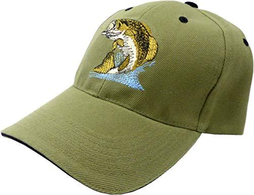 Muetze Herren Damen Angler Cappy oliv Man Woman Fisher Cap Schirm-Muetze mit Motiv Fisch Retro Mütze (oliv) 5090