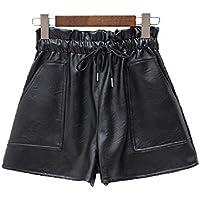 Pantalones Cortos de Piel para Mujer, de Terciopelo, Gruesos, de Cintura Alta, de Poliuretano, Talla Grande, Informal, de Pierna Ancha Negro Terciopelo Negro. M