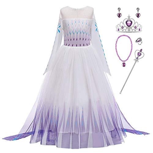 LOBTY Disfraz de Princesa de Elsa para niñas, Disfraz de Reina del Hielo, Vestido de Princesa con Copos de Nieve, Vestido de Tul, Navidad, Carnaval, Fiesta de cumpleaños Costume + Accesorio 2-14 Años