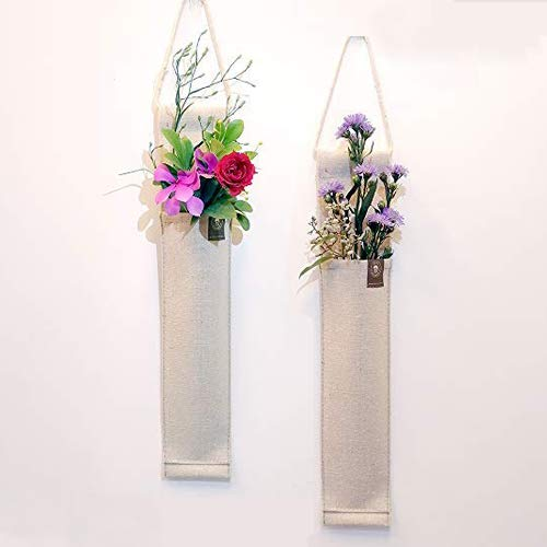 """SNAIL GARDEN 2 Pack 12.5""""H Fabric Hanging Wall Vases, Flower Wall Decor for Living Room, Bedroom, Office and More(Linen)"""