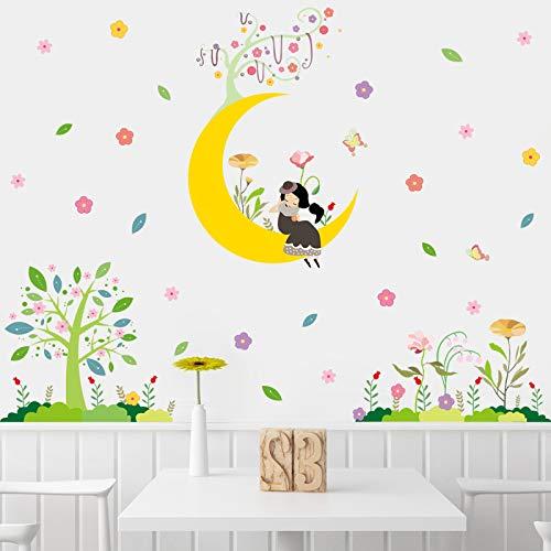 Chica en la luna pegatinas de pared sala de estar dormitorio fondo decoración de la pared habitación de los niños pegatinas dormitorio cabecera autoadhesivo papel 60x90