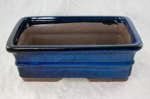 Rectangular Bonsai / Cactus & Succulent Pot 10'x 8'x 3.25' - Dark Blue Glazed