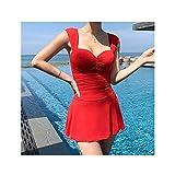 LICHUAN Traje de baño de una Pieza para Mujer Ropa de baño Monokini Empuja el Traje de natación Plisado Trikini baño de baño (Color : Red, tamaño : X-Large)