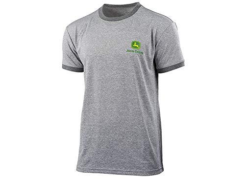 John Deere Herren T-Shirt Grau Kurzarm Atmungsaktiv (XL, Grau)