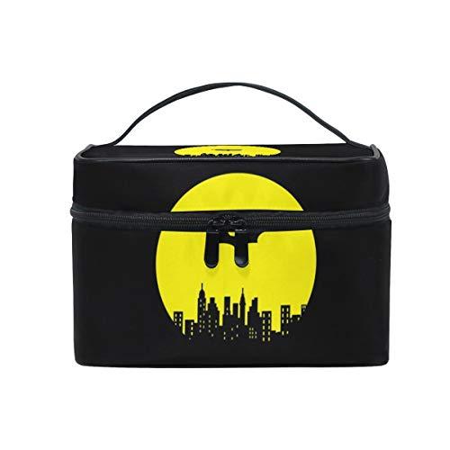 OREZI Black Batman Makeup Case for Girl Women,Waterproof Cosmetic Bag Storage Bag Travel Toiletry with Adjustable Dividers for Cosmetics Makeup Brushes Toiletry Jewelryomen