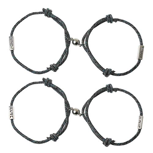 YO-HAPPY Fashion Bracelet, Lovers Matching Friendship Bracelet Magnetic Distance Love Heart Bracelet Kit