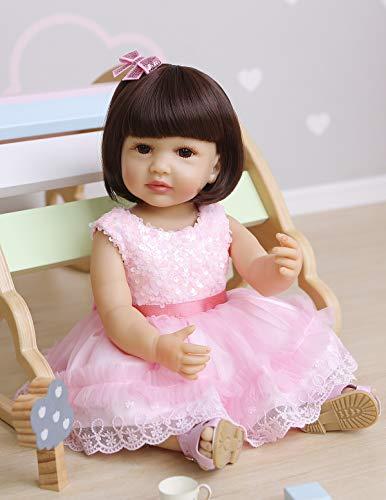 Boneca Bebê Reborn de Silicone de 55,88 cm para Meninas Bebê Bebê Bebê Bebê Bebê Bebê Recém-nascido Boneca Bebe Correto Anatômico com Lindo Vestido Rosa e Conjunto de Acessórios para Presentes de Aniversário de Natal