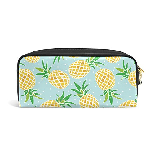 ABLINK Retro Pineapple Fruits Pencil Pen Case Pouch Bag with Zipper for Travel, School, Small Cosmetic Bag