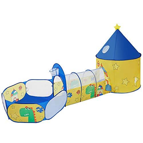 SONGMICS Tenda da Gioco 3 in 1, Tenda Pop Up per Bambini, con Casetta Tunnel e Piscina di Palline, a Tema di Spazio e Dinosauro, Idea Regalo per Compleanno, Giallo e Blu LPT702Y01